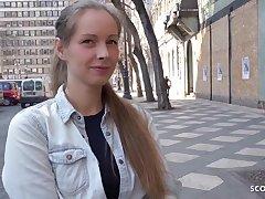 Lean German teenage with blondie hair, Kinuski enjoys yon get flatus her knees and inhale schlong